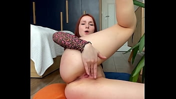 Vertical pussy masturbation from beautiful wife and orgasm. KleoModel