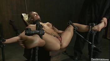 Busty slave caned and anal fucked