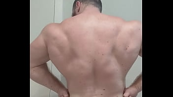 OnlyfansBeefBeast Bodybuilder Sweaty Naked Flex Before Shower. Beefy Big Hairy Musclebear Alpha Hung Cock Bull Cocky