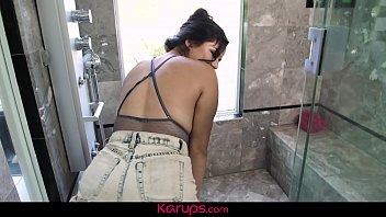 Karups - Latina Monica Sage Toying Her Pussy In The Glass Shower