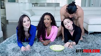 Teen BFFS Gangbang On Movie Night