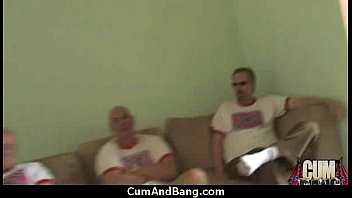 Black chick gets gangbanged by a group of white guys 7