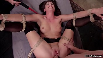 Tied babe in threesome slave training