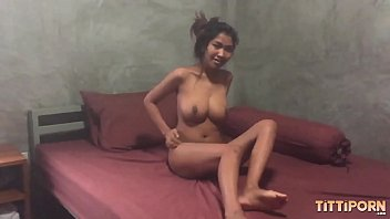 Gorgeous Thai girl with big natural tits rides my dick
