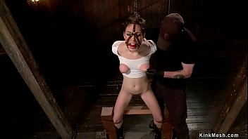Bound sub rides Sybian in doggy style