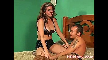 Naughty brunette sucks her bi man