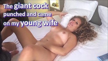 The giant cock friend punched and cummed on my brand new wife, and she loved it - real amateur whores and cuckolds - complete on red