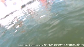 strippers with a gopro filming themselves naked partying on a lake Preview