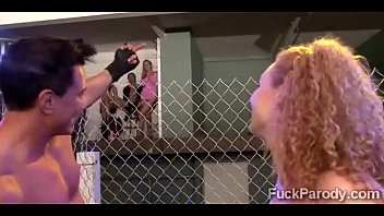 Redhead gets tapped out by 2 pervs in this mixed martial arts XXX parody