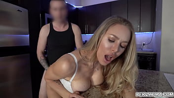 Stepmom lets her stepson fucks her muff before his dad comes home