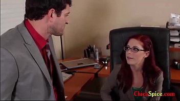 Two workers in hours of rest get horny and a redhead sucks his cock, he penetrates it was