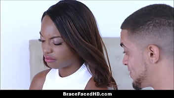 Black Teen Stepsister With Braces And Big Tits