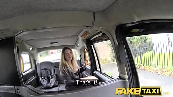 Fake Taxi footjob and big cumshot for cute shaved pussy blonde 10 min