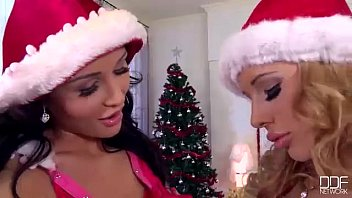 Santa's Busty Helpers in Hot Double Dildo Action thumbnail