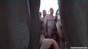 Horny milf pierced pussy fucked on the beach by voyeurs