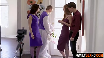 Bro tricks step sis and mom into sex - fucked up family