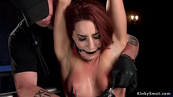 Waxed slave pussy fucked with dildo
