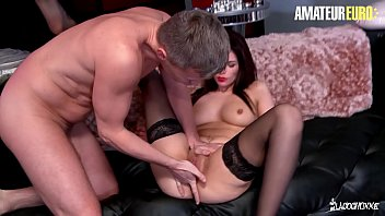 AMATEUR EURO - European Brunette Lolita Grey Takes Two Dicks In Her Sweet Tight Pussy