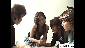 Asian clothing womens Cfnm handjob with cumshot by group of japanese women