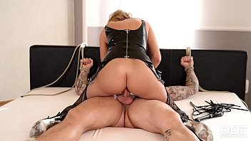 British Dominatrix Stacey Saran spanks and rides her submissive stud