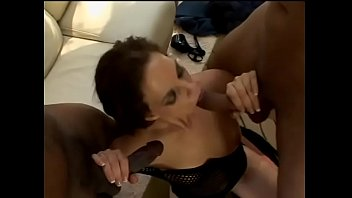 Darkhaired dimpled darling Chrissy Cumms warms up her pussy before three well hung studs polish her in all fucking holes