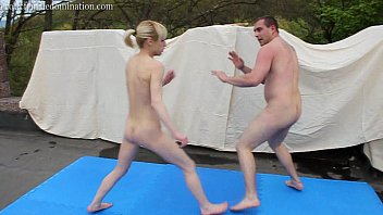 Nude men boxing Mixed kickboxing ending with loser orally pleasuring winner