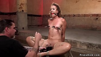 Rubber bondage rope - Clamped and gagged babe ass whipped
