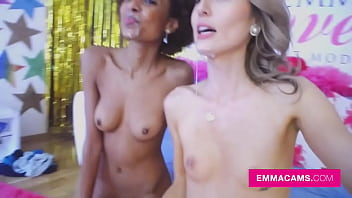 Tall skinny blonde and ebony babe Luna Corazon fuck boyfriends and get big messy facials in amateur foursome