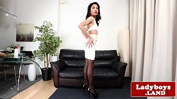 Real ladyboy teasing and wanking her cock