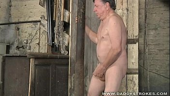 Older chubby gays Stocky daddy jerking his cock