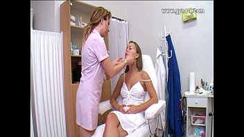 Doctor giving female breast exam video Gynecological checkup on gyno clinic