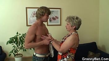 Granny games with horny mature woman and boy