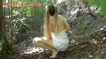 Forced in the wood after spying masturbate