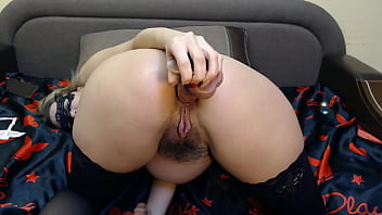 Your wife fucks on webcam with a guy, deep throat blowjob, anal with a big  toy, hairy pussy fucking until orgasm
