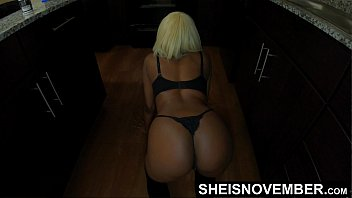 Crawl Bitch!!! Petite Black Pornographic Actress Msnovember Ordered By Her Insane Step Dad To Get On Her Knees And Crawling While Jiggling Juicy Ebony Step Daughter Ass Cheeks In The Kitchen Wearing Black Thong and Stocking On Sheisnovember