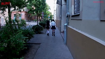 Having Fun with 2 hot schoolgirls that come back home