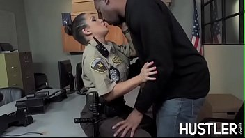 Policewoman Charity Bangs facialized in office interracial