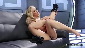 Blonde worships feet and fucks machine