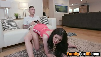 Bored sister fucks brother while he plays on xbox - fucked up family boobieblog