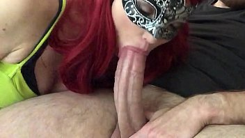 Masked Redhead Returns for More Big Dick Sucking Part 2