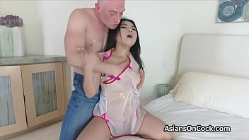 Pounding oily Vietnamese hottie from behind