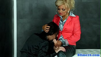 Office babe drilled by huge strapon