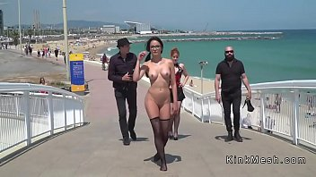 Naked in fishnets slut in public