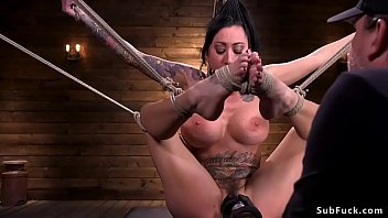 Busty alt flexible slave in hogtie