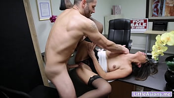 Horny Asian MILF Lexi Mansfield played with wet pussy in front of the bad boss