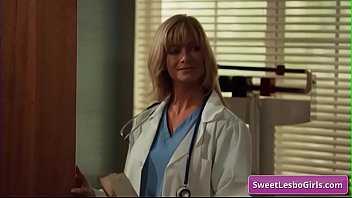 Hot mature lesbian blonde sexy hotties Serene Siren, Verronica Kirei kissing tender and make out in the doctor's office