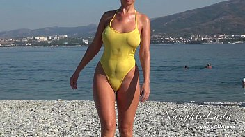 Nude swimsuit girls Sheer when wet swimwear and flashing