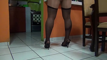 skirt sexy legs in pantyhose and stockings Crossdresser TV