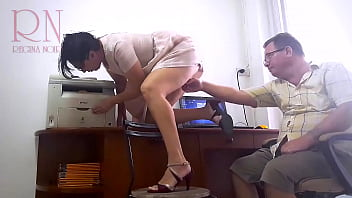 SEXRETARY Whore is ready to fuck for a salary. Bitch fucks with her boss.