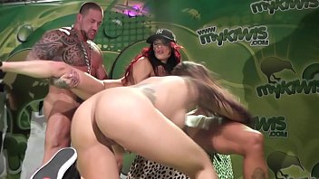 theesome lesbian brunette pornstars on stage